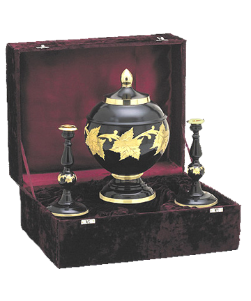 Four Piece Ebony Urn Set
