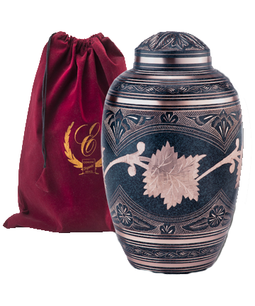 Etched Leaf Patina Urn