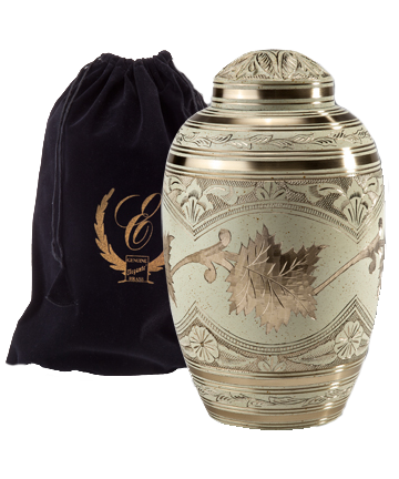 Etched Leaf Cream Urn