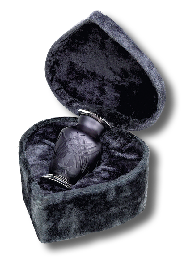 Classic ArtGlass Urn<br>Keepsake Size<br>(includes heart shape case)