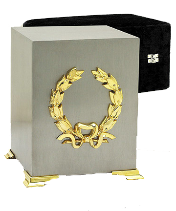 Pewter & 24K Gold Finish Cube Urn