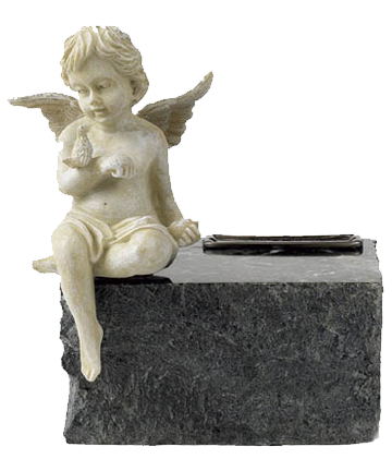 Angel Black Marble Urn