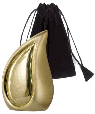 Brushed Brass Finish Teardrop Keepsake Urn