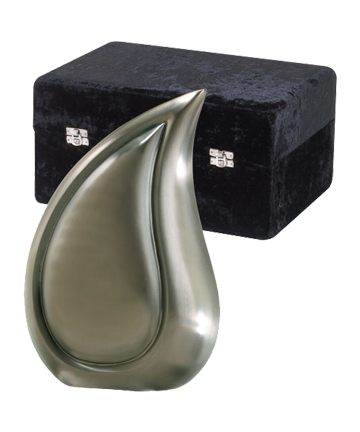 Brushed Pewter Finish Teardrop Urn