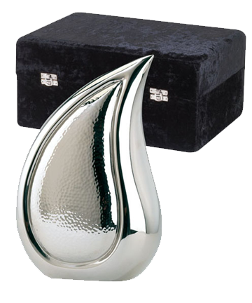 Bright Silver Finish Teardrop Urn