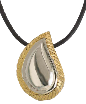SilverGold Finish Teardrop Pendant