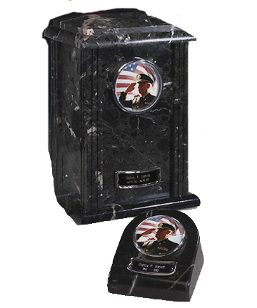 Military BlackGrain Marble Urn
