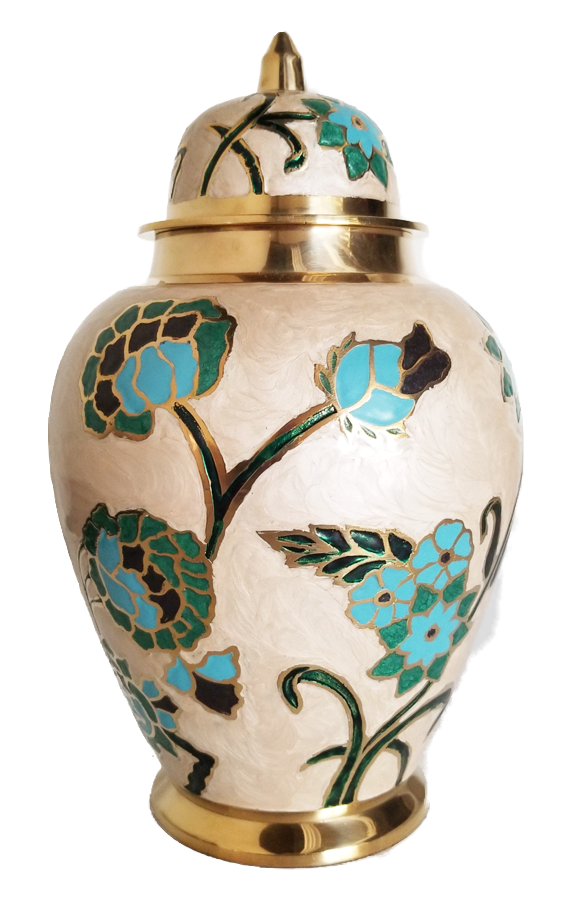 Blue Floral Urn<br>Adult Size<br>(Hand Painted)