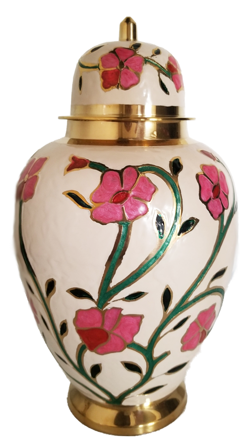 Pink Floral Urn<br>Adult Size<br>(Hand Painted)