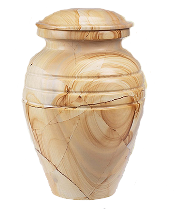 TeakWood Grain Marble Urn