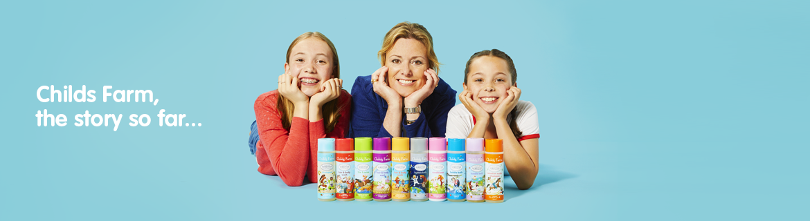 Joanna and her children with products