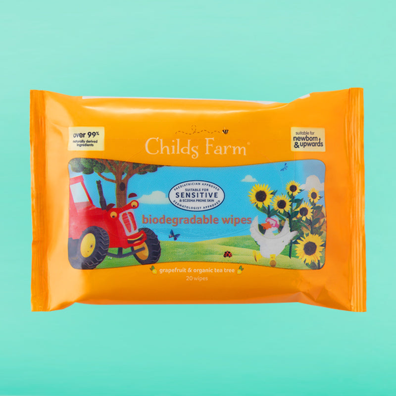 Childs Farm biodegradable wipes, grapefruit & organic tea tree oil 20 pack