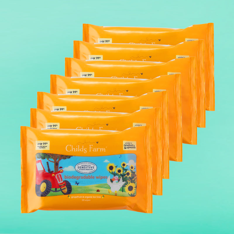 Childs Farm Handy Pack Biodegradable Wet Wipes with Grapefruit and Organic Tea Tree. 7 packs 140 wipes in total