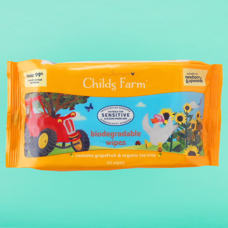 Childs Farm biodegradable wipes, grapefruit & organic tea tree oil 64 pack