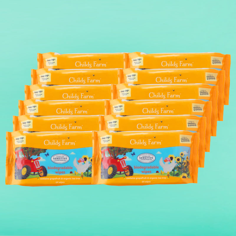 Childs Farm Biodegradable Wet Wipes with Grapefruit and Organic Tea Tree. 12 packs 768 wipes in total