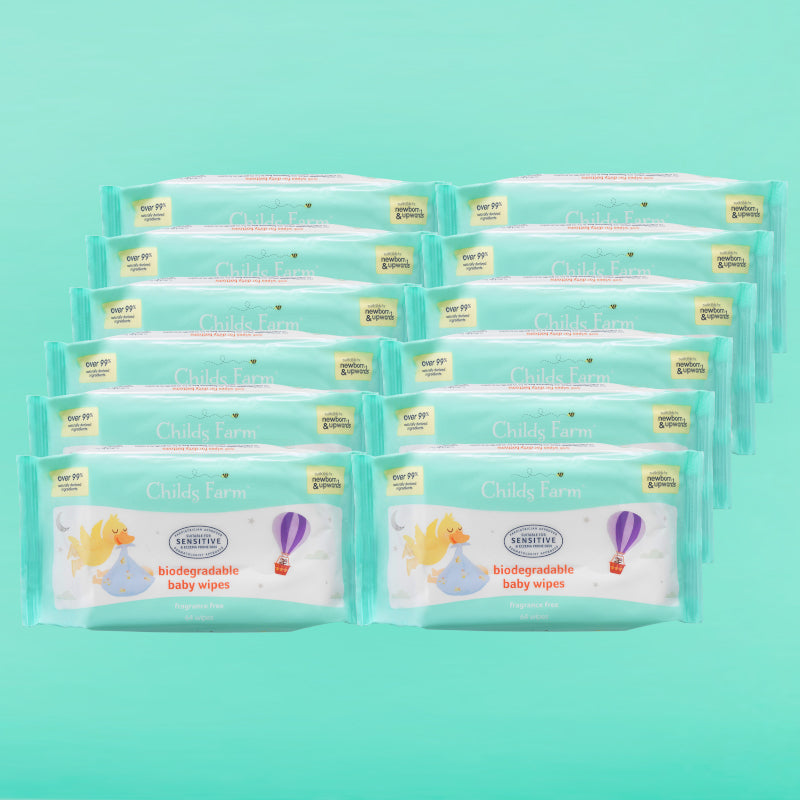 Childs Farm Baby Wipes, Biodegradable and Unfragranced. 12 Packs 768 Wipes Total