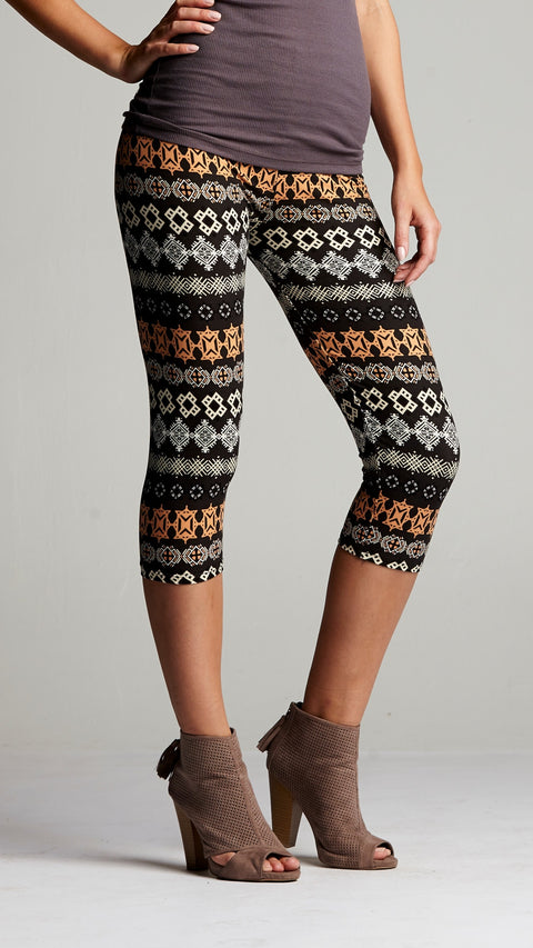 Cropped Capri Leggings with Design Geometric Orange