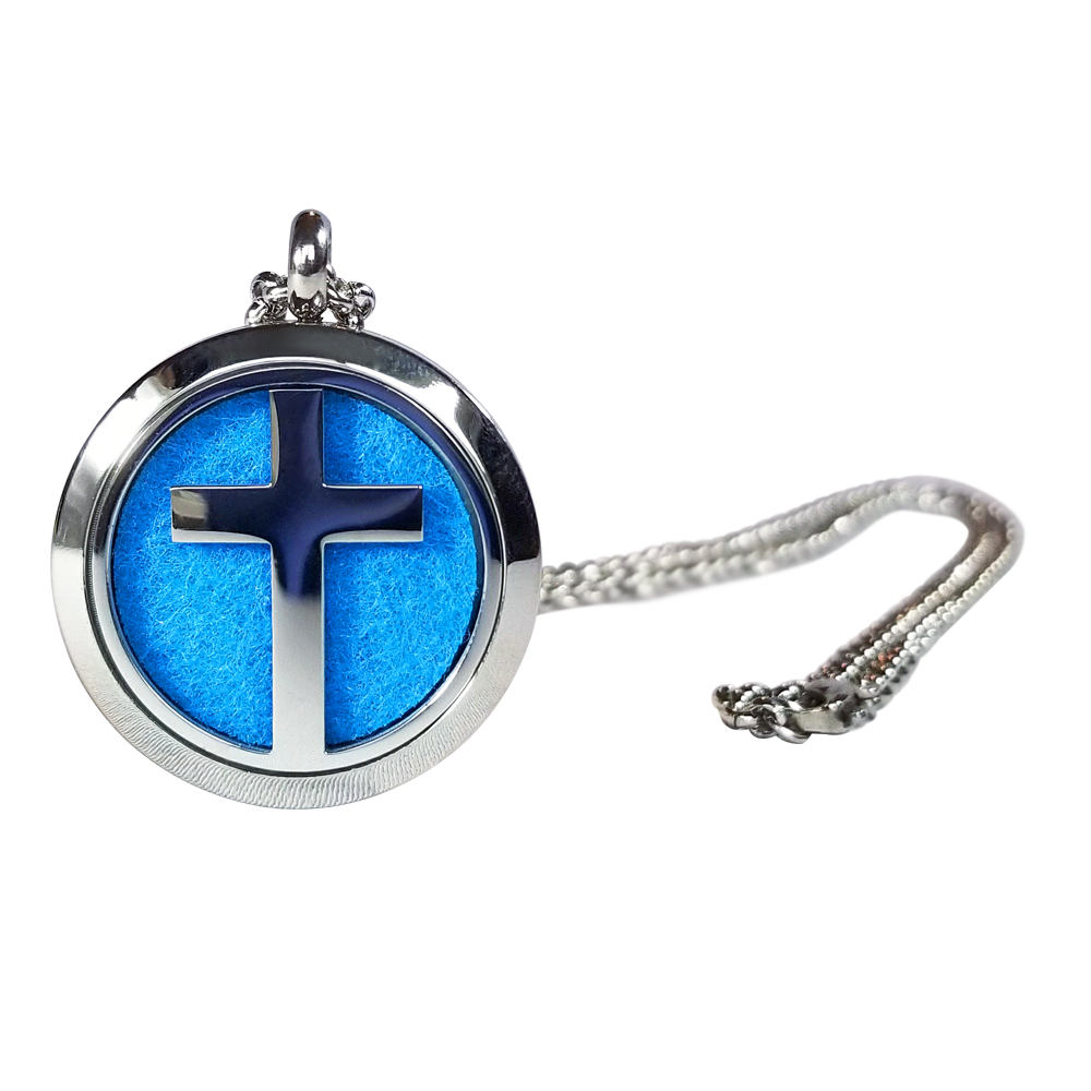 Stainless Steel Cross Essential Oil Necklace