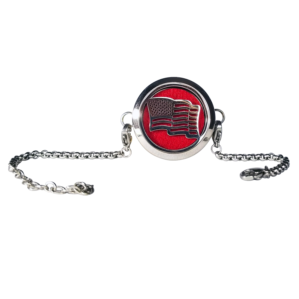 Stainless Steel American Flag Essential Oil Bracelet