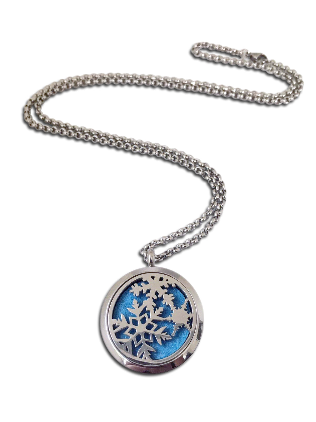 Stainless Steel Snowflake Diffuser Necklace