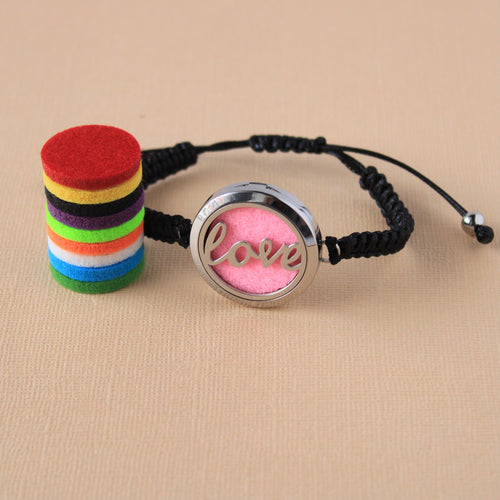 Stainless Steel Love Adjustable Diffuser Bracelet Set