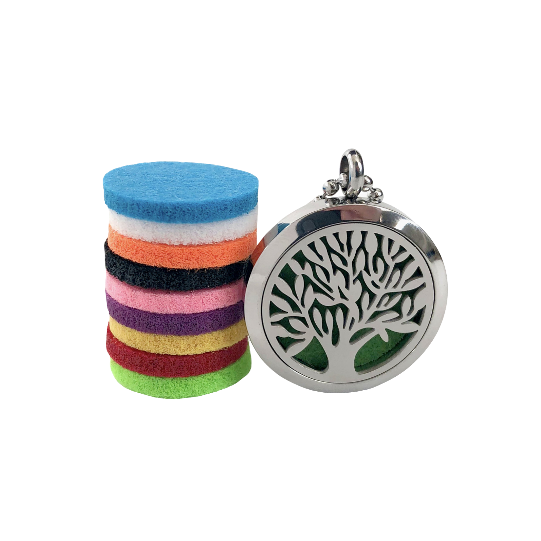 Stainless Steel Tree of Life Diffuser Necklace Gift Set