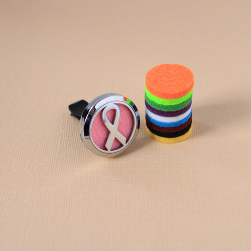 Stainless Steel Cancer Awareness Ribbon Car Diffuser Clip