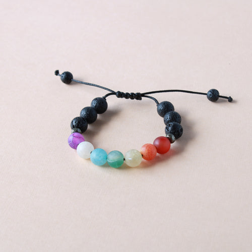 Kid Size Adjustable Rainbow Lava Stone Diffuser Bracelet