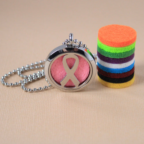 Stainless Steel Cancer Awareness Ribbon Diffuser Necklace