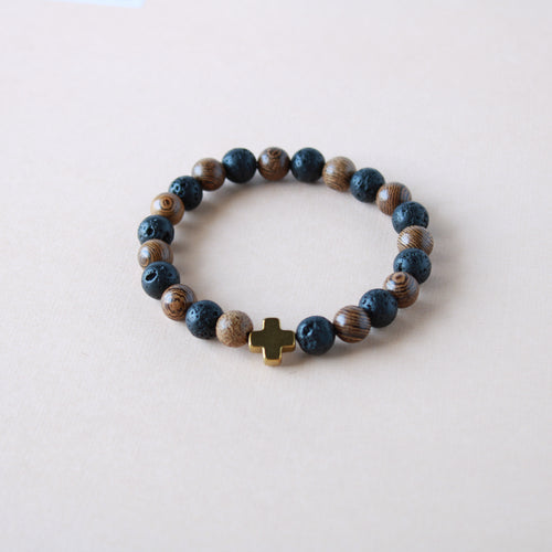 Black and Wood Lava Stone Diffuser Bracelet
