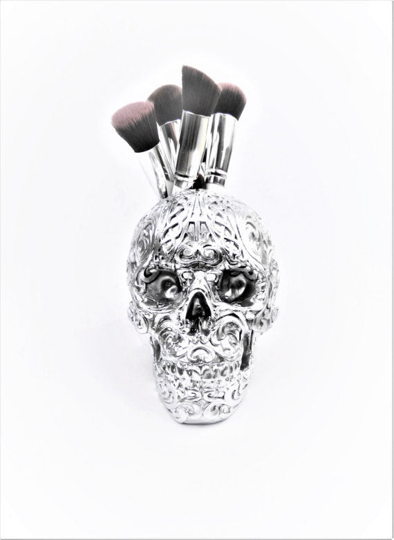 Skull Brush Holder