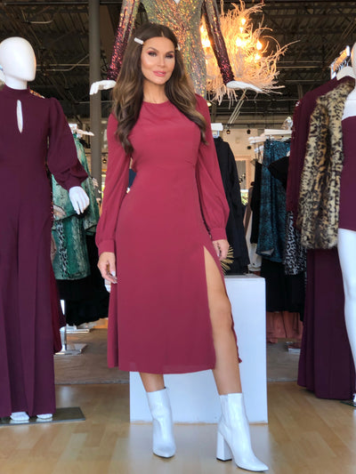 Wine Not Long Sleeve Open Back Front Slit Midi