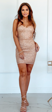 Toast Of The Town Champagne Sequin Dress