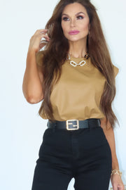 Cool Chick Camel Leather Shoulder Pad Top