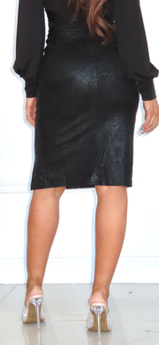 Strictly Business Black Snake Print Skirt