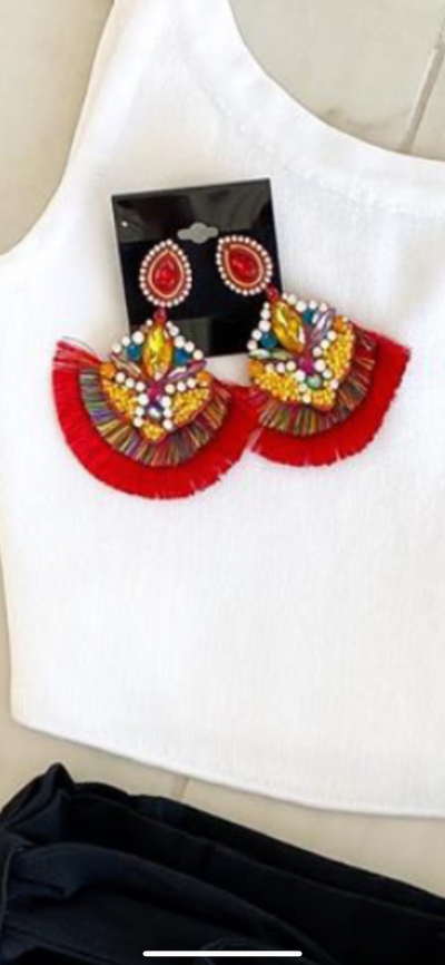 Red Multi Jeweled Fringe Earrings