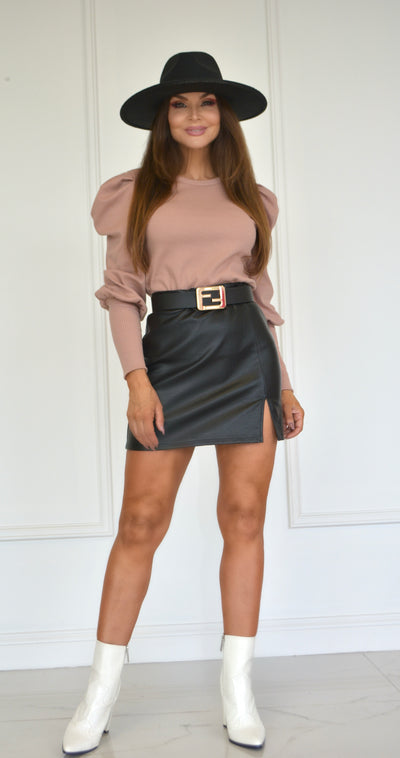 Party Girl Black Leather Skirt With Side Slit