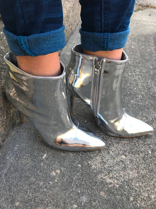 Silver Pointed Toe Bootie