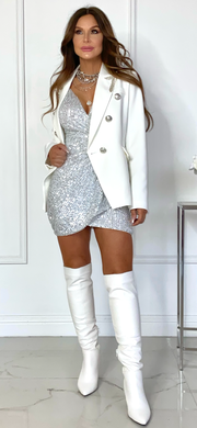 Boss Babe White Double Breasted Sequin Detail Blazer