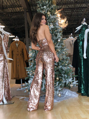 Dancing Queen Rose Gold Sequin Pant Set