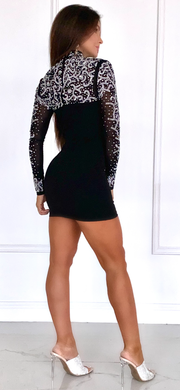 Mystical Nights Black Studded Long Sleeve Dress