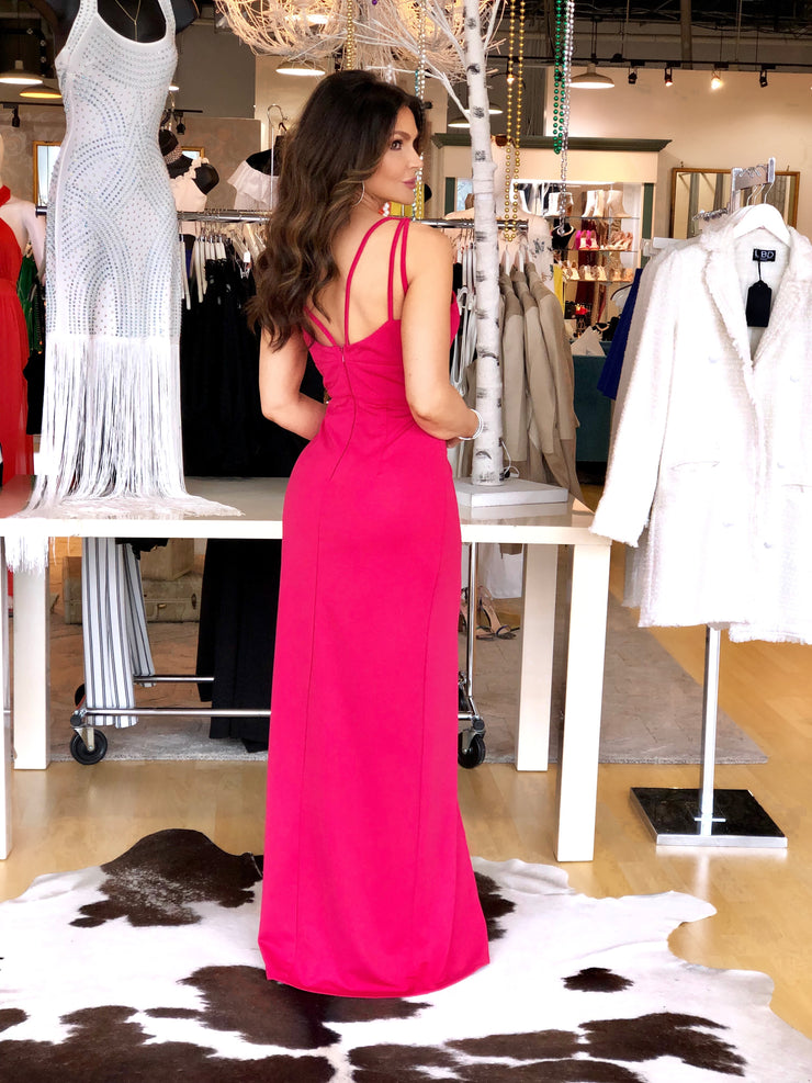 Make a Move Barbie Pink Strappy Formal with Front Slit