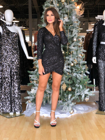 Shine Bright Black Sequin Wrap Dress