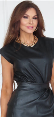 Cool Chic Black Leather Shoulder Pad Top