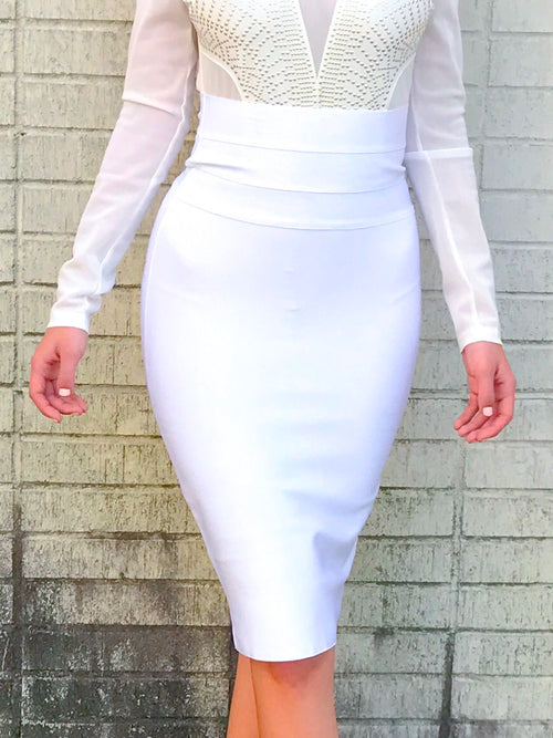 Ivory High Waist Midi Bandage Skirt