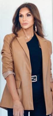 Butter Cup Vegan Leather Blazer