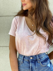 Soft Touch Dusty Pink V-Neck T-shirt