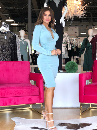 Mint Julep Long Sleeve Deep V Midi Dress