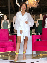 Kiss This White Long Sleeve Button Front Dress