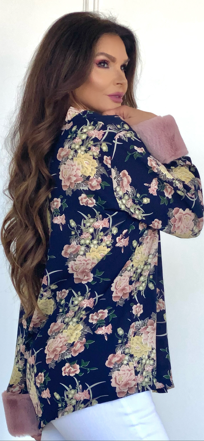 Asian Queen Navy Floral Kimono with Fur Cuff